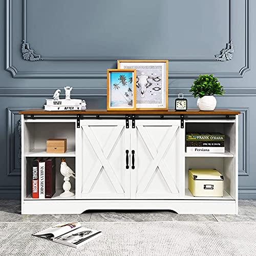 Farmhouse TV Stand Wood Sliding Barn Doors Modern Entertainment Center for 65 inch TV, Living Room TV Console Storage Cabinet with Doors and Adjustable Shelves, White