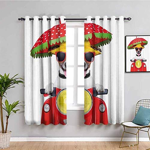 Animal Black Out Cortinas para dormitorio perro con sombrero y gafas de sol conducir motocicleta bajo un paraguas divertido vacaciones imagen protectora muebles rojo W108 x L84 pulgadas
