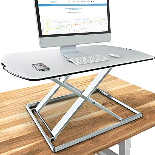 Deskfit 3in1 höhenverstellbarer Schreibtisch-Aufsatz 80cm | Stufenlose Pneumatik Gasfeder, hochwertige Aluminium Sitz-Steh Workstation, stabile Doppel-X Konstruktion, Laptoptisch | DF50 Monitorständer