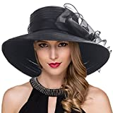 Women Kentucky Derby Church Dress Cloche Hat Fascinator Floral Tea Party Wedding Bucket Hat S052 S062-Black