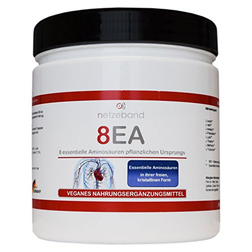 Netzeband 8EA - 8 essentielle Aminosäuren Vegan im optimalen Verhältnis L-Leucin, L-Valin, L-Isoleucin, L-Phenylalanin, L-Lysin, L-Threonin, L-Methionin und L-Tryptophan