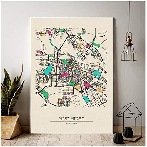 Nederland Amsterdam kleurrijke City Map Canvas Poster thuis woonkamer slaapkamer wanddecoratie-60x80cm Geen Frame