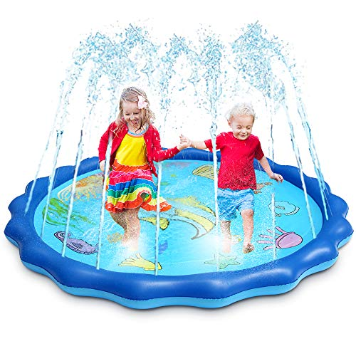 OMWay Water Sprinkler for Kids, 69 Inch Large Size Splash Pad for Toddlers,Outdoor Inflatable Kids Pool, Learning Toys for Boys Girls Age 2 3 4 5 6 7 8 9 10.