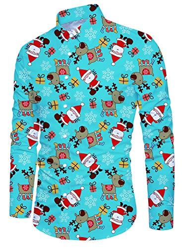 Idgreatim Men Brutto Natale Natale Camicie hawaiane Top Bottone Stampato Maniche Lunghe Divertente Night Club Top da Uomo Regalo di Natale