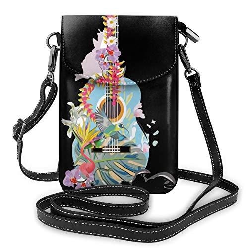 Gitarre Sommer Blume Kleine Messenger Bag Handy Armband Brieftasche Mini Handtasche mit Schultergurt Damen Mädchen