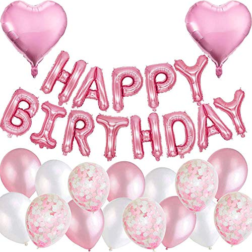 MAKFORT Geburtstagsdeko Rosa Happy Birthday Folienballons Girlande mit Konfetti Luftballons Rosa Für Geburtstag Partydeko Mädchen und...