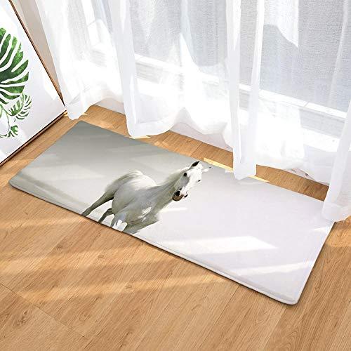 NoNo keukenmatten, polyesterweefsel, wit, eenvoudig paard badmat, deurmat, slaapkamermat, woonkamer, antislip, tapijt, decoratiemat