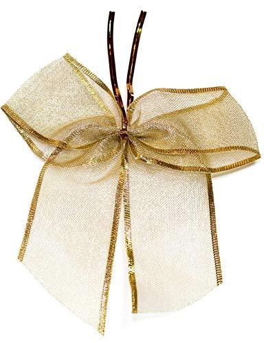 CaPiSo - 12 lazos de lurex (14 x 16 cm, con clip de fijación, 8 cm, lazo de regalo), color dorado