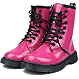 YcamisetaY Kids Girls Boys Waterproof Leather Boots Lace-up Side Zipper Outdoor Combat Rubber Sole Mid-calf Boots