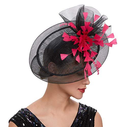 Coucoland Fascinators hoed dames elegante bloemen veer fascinator haarband voor bruiloft cocktail thee party derby haar hoofdaccessoires dames carnaval carnaval kostuum accessoires