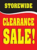 Storewide Clearance Sale Red & Black Retail Display Sign, 18'w x 24'h, 5 Pack