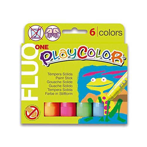 Playcolor Fluo one - Tempera sólida - 6 Colores surtidos - Tempera - Pintura Flourescente Luminiscente - 10431