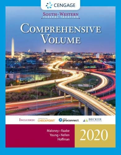 Compare Textbook Prices for South-Western Federal Taxation 2020: Comprehensive with Intuit ProConnect Tax Online & RIA Checkpoint, 1 term 6 months Printed Access Card 43 Edition ISBN 9780357109144 by Maloney, David M.,Raabe, William A.,Young, James C.,Nellen, Annette,Hoffman, William H.
