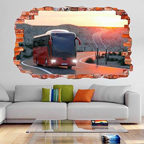 Autopista amanecer etiqueta de la pared mural calcomanía habitación de los niños decoración del hogar DG6-3D - Mural impresión cartel decoración - 60x90cm
