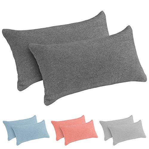 Monsera - Juego de 2 almohadas cervicales suaves y indeformables, funda jaspeada de espuma viscoelástica, cojín de espalda, almohada para cama, sofá o viaje, tamaño: 38 x 20 cm (negro)