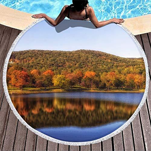 Gamoii Toalla de playa redonda con diseño de árboles, lago, agua, reflexión, paisaje, picnic, playa, toalla de microfibra, suave mantel con flecos, para adultos y niños, exterior y blanco, 150 cm