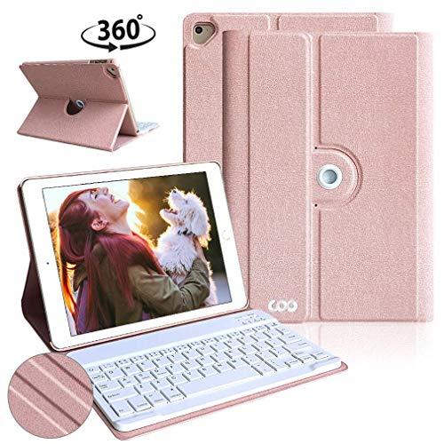 Funda con Teclado iPad 9.7, Funda iPad 9.7 con Teclado Español (Incluye Letra Ñ) Bluetooth Desmontable para iPad 2018/iPad 2017/iPad Pro 9.7/iPad Air 2/1 con 360 Grados Soporte Giratorio (Champán)