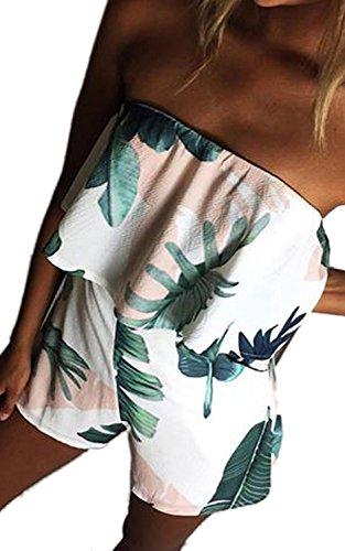 Minetom Damen Sommer Sexy Schulterfrei Hohe Taill Zwei Taschen Kurz Strand Blumenmuster Trägerlos Overall Spielanzug Einteiler Jumpsuit Weiß A DE 38
