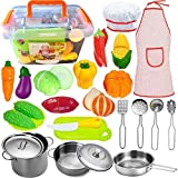 FUNERICA Pretend Play Kitchen Accessories with Stainless Steel Pots and Pans Set, Kitchen Utensils,...