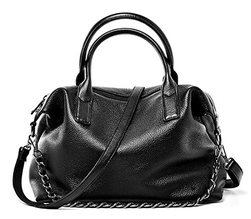 Heshe Genuine Leather Shoulder Bag Womens Tote Top Handle Handbags Cross Body Bags for Office Lady (Black)