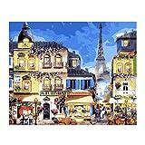 Pintura por Números Para Adultos Niños DIY Kit,Hotel Paris Maritime con Pinceles y Pinturas Lona...