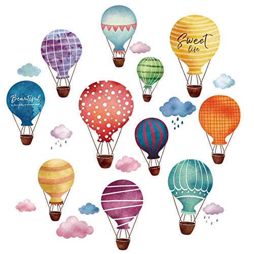 GWFVA Gratis Kwekerij Decoraties Kleur Hot Air Balloon Muursticker Kwekerij Muurstickers Strips Cartoon Leuke Decals