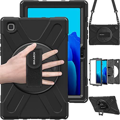 BRAECN Hülle für Samsung Galaxy Tab A7 10.4 2020(SM-T500 SM-T505), Robuste Stoßfeste Tragbare Hülle mit 360-GRAD-Ständer, Schultergurt & Handgurt für Galaxy Tab A7 10.4 2020 Tablette-Schwarz