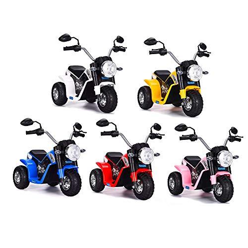 Mediawave Store - Moto Baby Elettrica LT889 per Bambini 6V Kid Go con 3 Ruote, luci, Moto elettrica per Bambini, Motocicletta elettrica con Faro, Gioco Divertente all'aperto (Bianco)