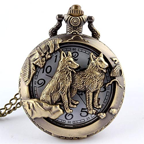 Gu3Je Duradero Reloj de Bolsillo de Perro de Bronce Retro Reloj de Bolsillo con Collar Cadena Mujer para Hombre Fresco Colgante Reloj clásico Reloj de Bolsillo de Cuarzo para el Padre Madre