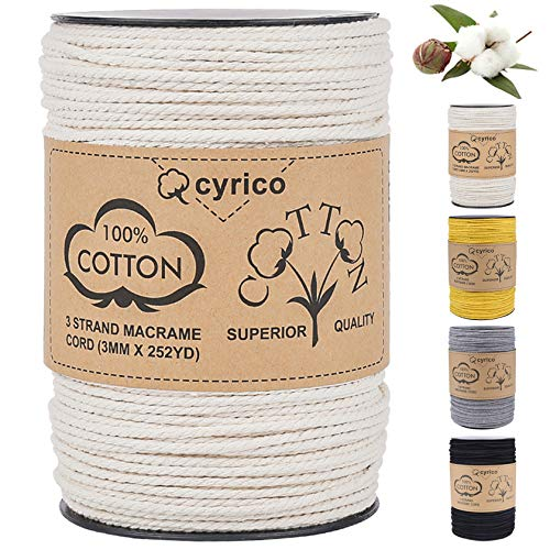 Macrame Cord 3mm x 260 Yards, 100% Natural Cotton Cord Macrame Rope - 3 Strands Twisted Macrame String Supplies for Wall Hanging Plant Hangers Gift Wrapping Wedding Decorations