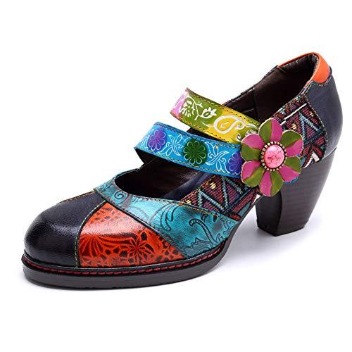 WYX Damen-Stiefel Damen Comfort Trekking-Schuhe Outdoor-Handgefertigte Lederweinlese-Ethnische Art-Weiche Schuhe,a,41