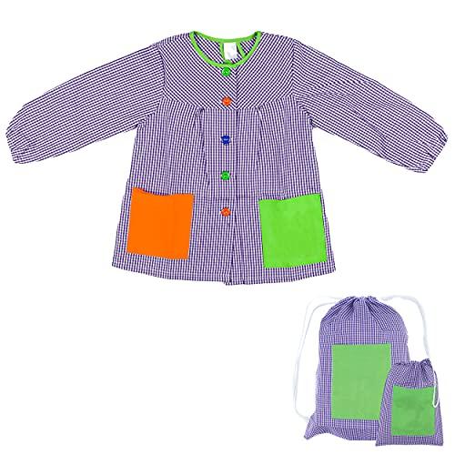 H HANSEL HOME Bata Escolar Infantil Baby Infantil de Cuadros Pequeños (Lila, 6-7 años) + Bolsa y Mochila Escolar para Llevar Fiambreras