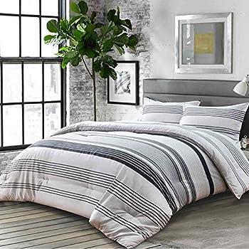 Nanko Comforter Set Queen Size Boho Grey Gray Striped Print Pattern 88 x 90 inch 3pc Reversible Comforter Microfiber Duvet Sets Bedding Bohemian Modern Farmhouse Style for Men and Women