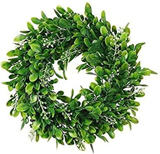 Boxwood Wreath Round Wreath,Artificial Green Leaf Wreath Door Wreath Green Wreath for Home Door Hanging Wall Window Wedding Christmas Party Decoration,11 Inches