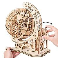 147個のDIY自己組織化回転可能3Dグローブ木製パズル木工建築DIYビルディングモデルキット、子供、10代、大人向け、26x17x29 cm