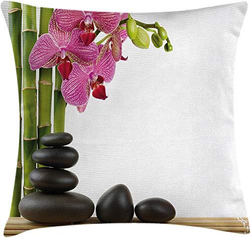 BONRI Throw Pillow Cojín, Orquídea Rosada con bambúes e impresión de Imagen de Masaje con Piedras Calientes Negras, Funda de Almohada Decorativa Cuadrada Decorativa, Fucsia Verde , (18'x18 / 45x45cm