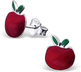 ICYROSE 925 Sterling Silver Red Apple Stud Earrings 17355