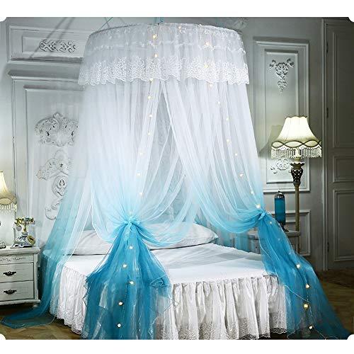 TYSYA Muggennet met verlichting Bed luifel Gradient Romantische Dome Princess Bed Gordijn Eenvoudige installatie Insect Controle Gemeenschappelijke grootte Voor Home Decoratie Meisjes Kamer