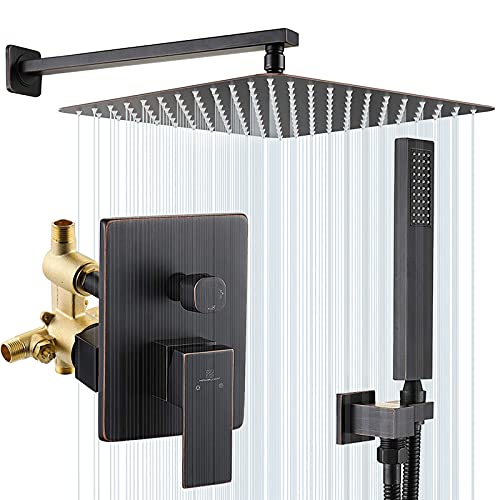 HOMELODY Shower System Oil Rubbed Bronze,10 Inches Rainfall Shower Head with Handheld Shower Spray,Rain Shower Faucets Sets Complete with Pressure Balance Valve,Wall Mounted Shower Fixtures with Hose