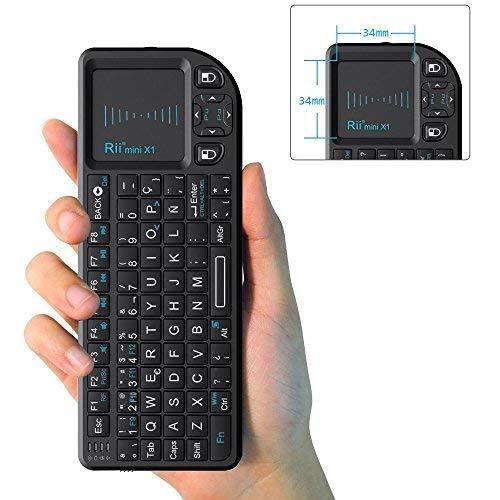 Rii X1 Mini Teclado inalámbrico 2.4GHz con ratón táctil, Control Remoto.Mini Wireless Keyboard - Compatible con Smart TV, Mini PC Android, Playstation, Xbox, HTPC, PC, Raspberry...