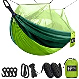 Hieha Camping Hammock with Mosquito Net, Portable Tree Hammocks with Bug Insect Net, Tree Straps & Carabiners for Outdoor Backpacking, Travel