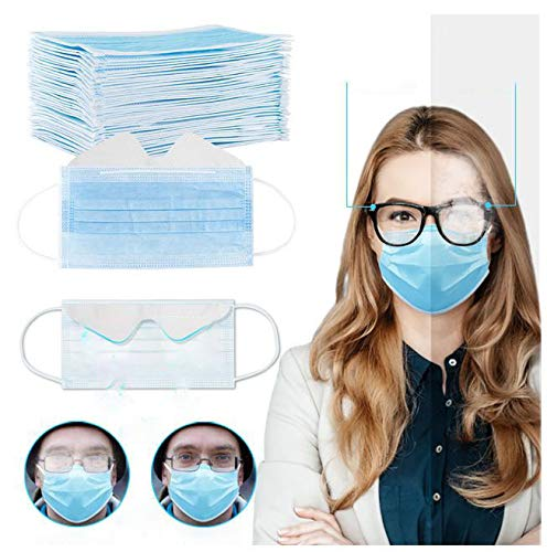Gokeop Breathable 3-Ply Disposable Face_masks Bandanas Anti-fog for People Who Wear Glasses, Outdoors Face Protection, Prevent Glasses from Fogging (50Pcs, Blue)