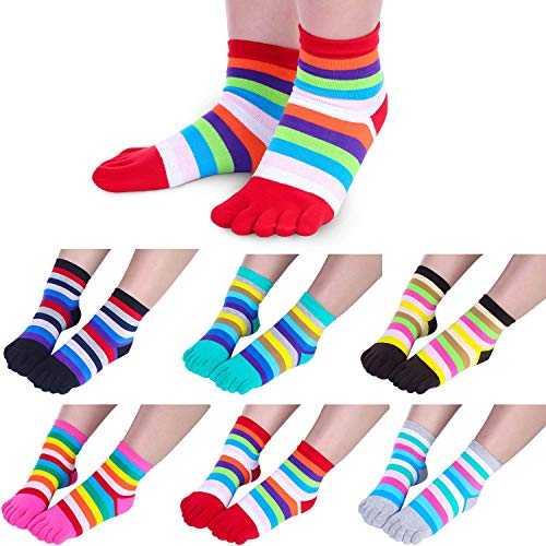6 Pairs Five Toe Socks Toe Separated Cotton Socks Colorful Stripe Socks for...