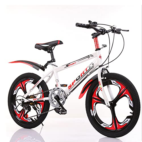 DWXN Niños Bicicleta de 20 Pulgadas Montaña Montaña Montaña Integrada Velocidad Variable Blanco Sin Cesta Rueda Bicicleta