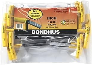 Bondhus 13338 Set of 10 Hex T-Handles, Sizes 3/32-3/8