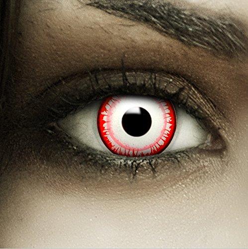 Farbige Kontaktlinsen ohne Stärke Killer Clown + Kunstblut Kapseln + Kontaktlinsenbehälter, weich ohne Sehstaerke in weiß schwarz rot, 1 Paar Linsen (2 Stück)