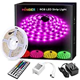 MINGER LED Strip Light 16.4ft Waterproof RGB SMD 5050 LED Rope Lighting Color Changing Full Kit with 44-Keys IR Remote Controller, Power Supply Led Lights for Room Bedroom Home Kitchen Decoration