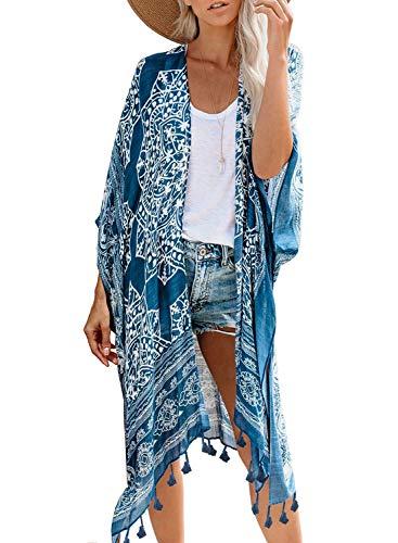 Dokotoo Womens Fashion 2019 Winter Autumn Print Long Kimonos Cover up Pop Pop Tassel Split Cardigan Holiday Beach Swimsuit Swim Bikini Loose Cover up Swimwear Blue