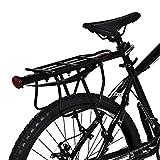 Zerone - Portaequipajes trasero para bicicleta de aluminio, portaequipajes trasero para bicicleta con reflector rojo, soporte para equipaje, accesorio de ciclismo
