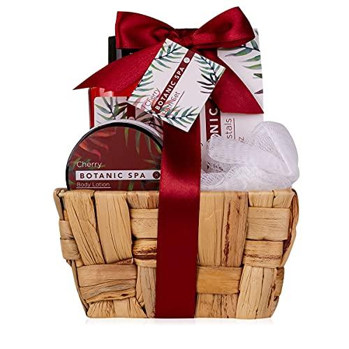 accentra Geschenkset CHERRY SPA im Seegraskorb, Bade-Set und Dusch-Set - 5-teiliges Geschenk-Set in dekorativem Korb aus Seegras, Geburtstagsgeschenk, Wellness Set für Frauen
